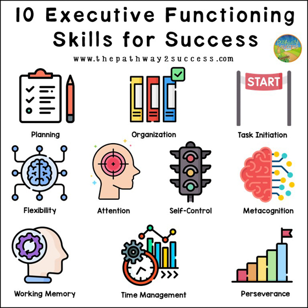 Executive functioning skills are the important processes in our brain that help us finish tasks and meet our goals. If it sounds like we use them for everything we do, that'd be right - we do! It's important to mention, though, that executive functioning skills are a huge umbrella. There are actually several different skills that work together to make up our executive functioning. Each skill is valuable and important.