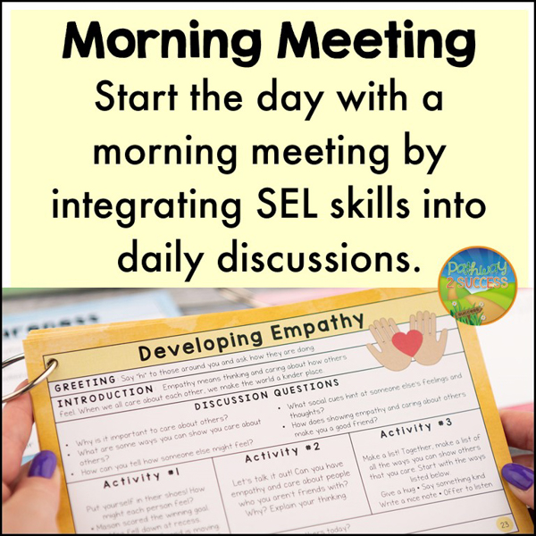 Morning Meeting. A daily morning meeting can be the ideal time to integrate social-emotional skills. Morning meeting is a semi-structured time of the day to greet each other, chat, and complete an activity or two before moving on with the rest of the day.