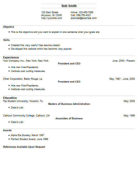 Resume Example 16 Free Resume Creator