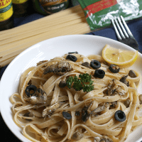 Spanish Sardines, Black Olives, & Capers Fettuccine