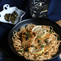 Chicken Piccata on Yellow Soybean Pasta