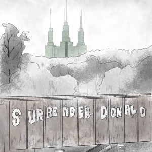 """Pencil sketch of the Mormon Temple outside of D.C., as seen from the 495 outer loop. """"Surrender Donald"""" is painted on a train trellis overpassing the interstate. A line of trees separates the bridge in the foreground and the temple, shaded green to look like The Emerald City from The Wizard of Oz, in the background."""