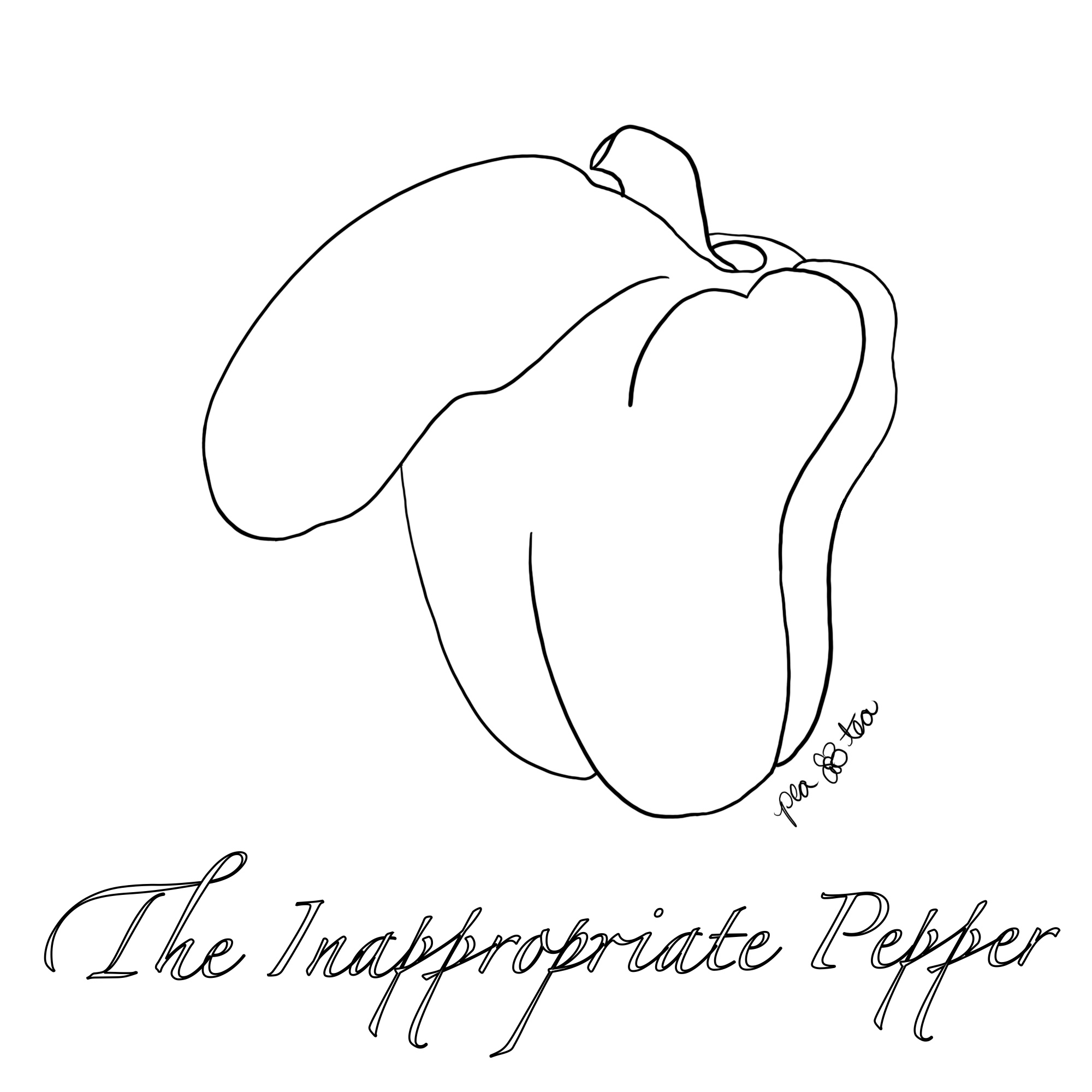Pen and ink sketch of a bell pepper that has a bulge that resembles a human penis.