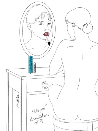 Pencil sketch of a woman applying lipstick in a mirror. The lipstick is a specific brand that raises money for social issues. The colorway is called F*ck Trump.