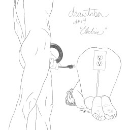 Pencil sketch of a nude man and woman. The man is standing in the foreground, holding his penis, which is actually a coiled electrical cord and three pronged plug. The woman is on all fours, looking back at him. Her genitalia is represented as a standard three-pronged light socket.