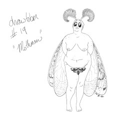 A pencil sketch of a nude plus size woman with big moth eyes, fuzzy antennae, and long moth wings. Another moth covers her genitalia.