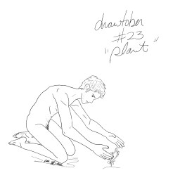 A pencil sketch of a thin nude man planting food into the earth.