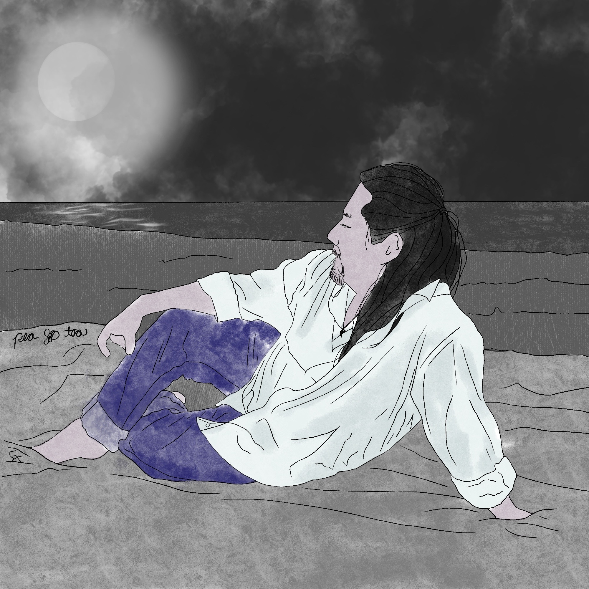 A sketch of a man with long black hair, wearing blue jeans and a white button down shirt untucked, sitting at ease on a beach under the full moon.