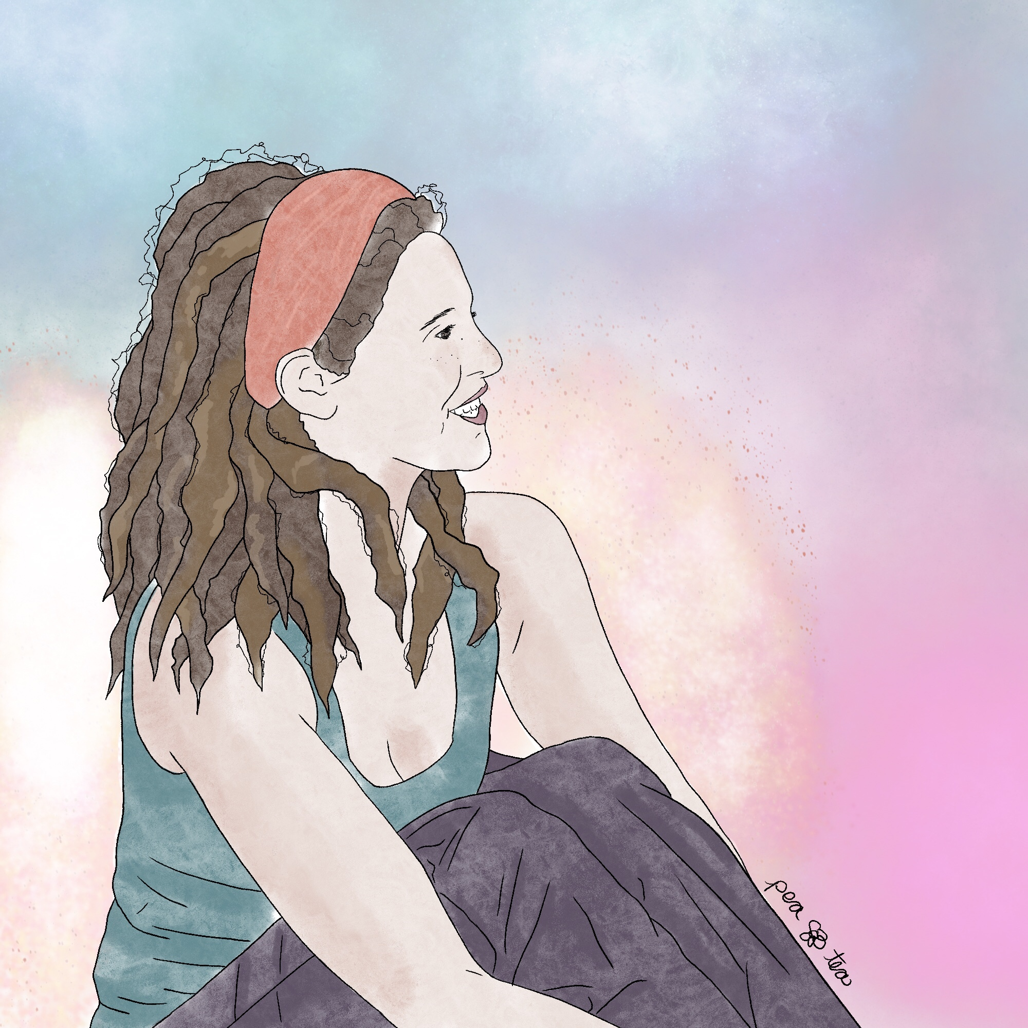 Colored pencil sketch of a beautiful woman with golden brown dreadlocks down her shoulders. She's sitting with her arms wrapped under her knees in profile, and smiling a bright smile. She's wearing a teal tank top an dark purple slacks, with a coppery cloth band holding her hair back from her face. She's surrounded in a glittering, golden light, with deep teals and purple nebulas surrounding her.