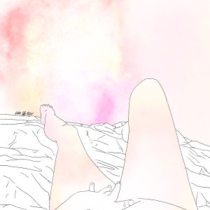 Colored pencil sketch of a woman touching herself in 1st person POV, looking down at the waist, legs, and feet. She's lying on a rumpled bed, and the background and her skin are both lit up in pink and orange shimmering galaxy nebulas.
