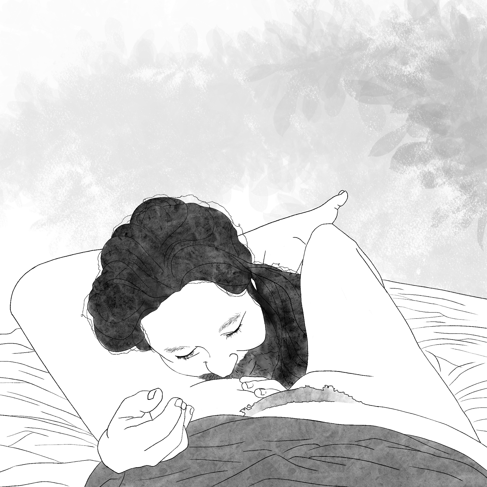 A man with dark hair and a beard smiles with his head resting peacefully on the inside of a woman's nude thigh.