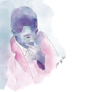 Watercolor painting of Henry Dumas rendered in purples, pinks, and blues.