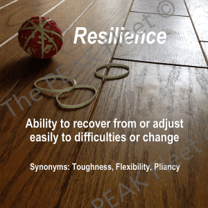 Resilience: Ability to recover from or adjust easily to difficulties or change.