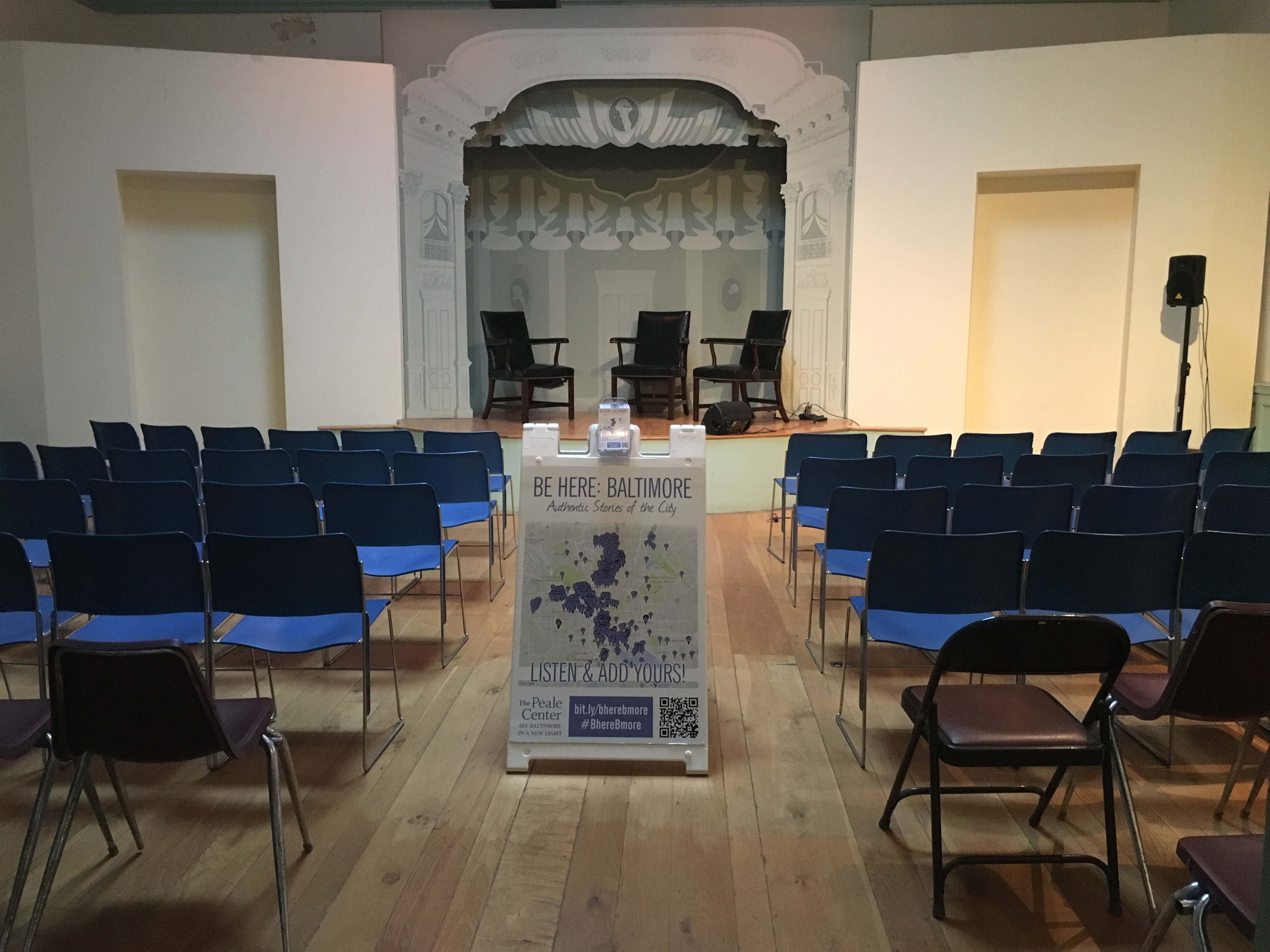 chair cover rental baltimore portable folding chairs rent our historic rooms the peale center a room in building set up with and small stage for lecture