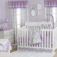 Damsel Damask Crib Starter Set in Purple & Grey