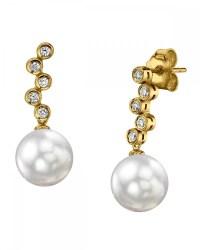 White South Sea Pearl & Diamond Wendy Earrings