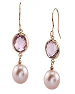 Click here to view Freshwater Drop Pearl & Amethyst Hailey Tincup Earrings.