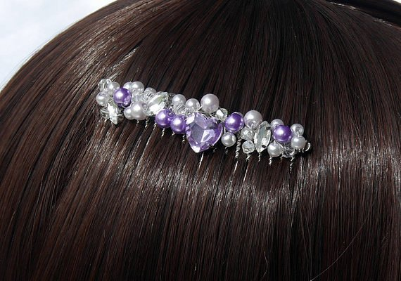 White & Purple Pearls with Heart Hair Comb
