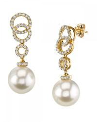 South Sea Pearl & Diamond Link Earrings