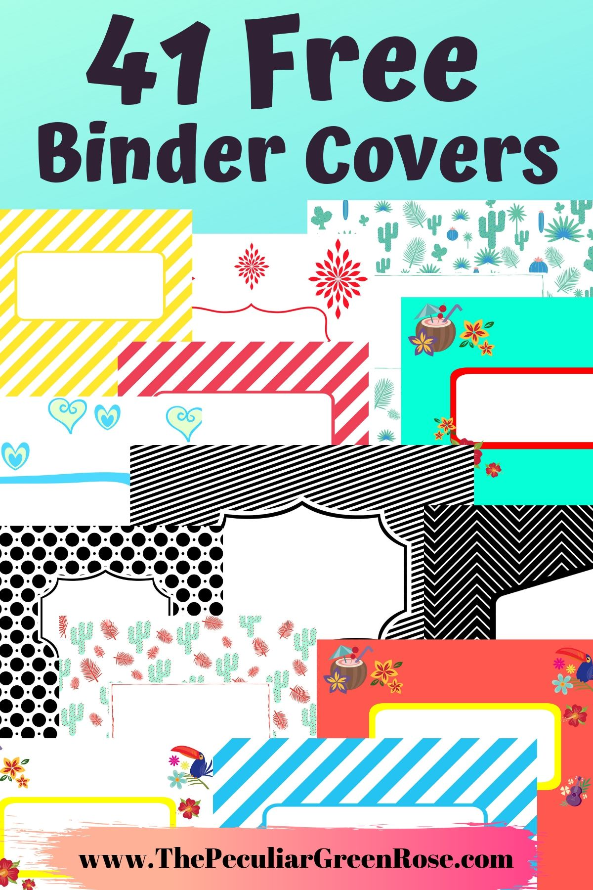 image about Printable Binder Covers Free titled 41 Cost-free Printable Binder Handles - The Unusual Eco-friendly Rose