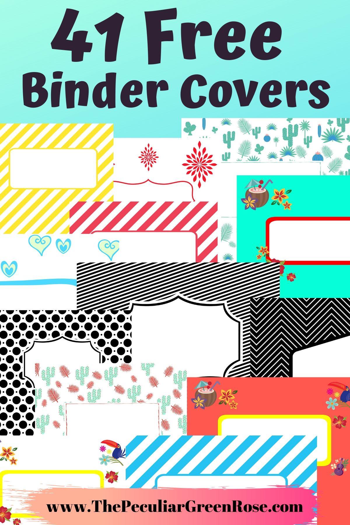 graphic regarding Printable Binder Covers Free identified as 41 Free of charge Printable Binder Handles - The Unusual Eco-friendly Rose