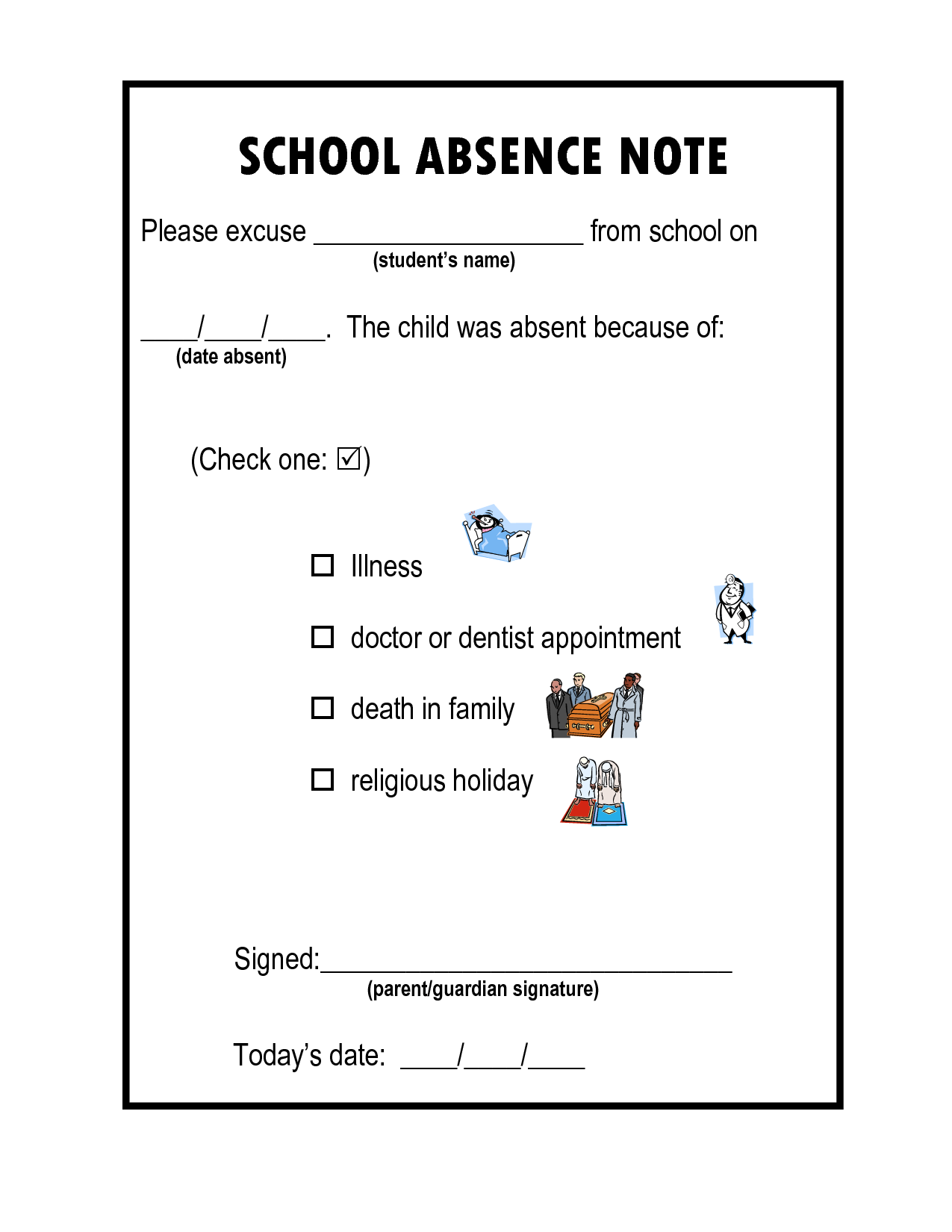 how to write a note for school absence