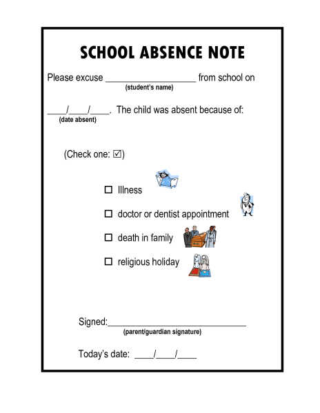 sick note template for school - the school excuse the pediablog