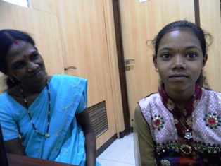 Nandini (now 11) with her mother