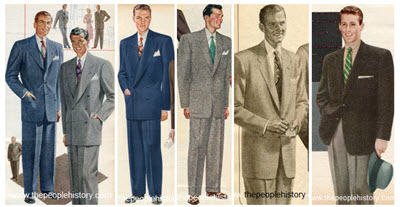 Mens 50s Fashion Clothing Examples Including Suits and Jackets