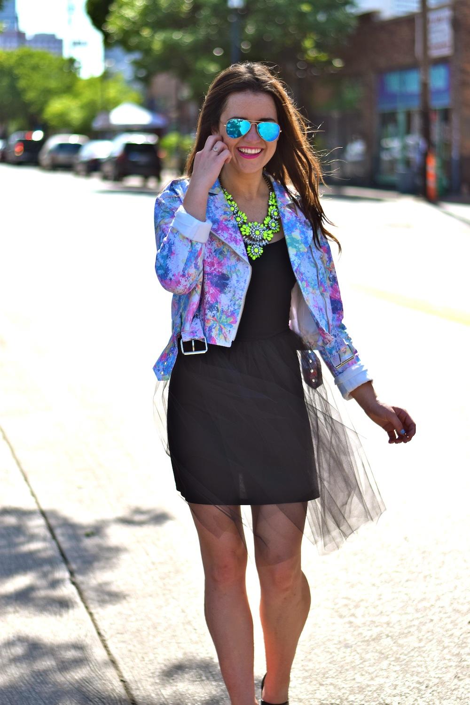 neon jacket tulle skirt