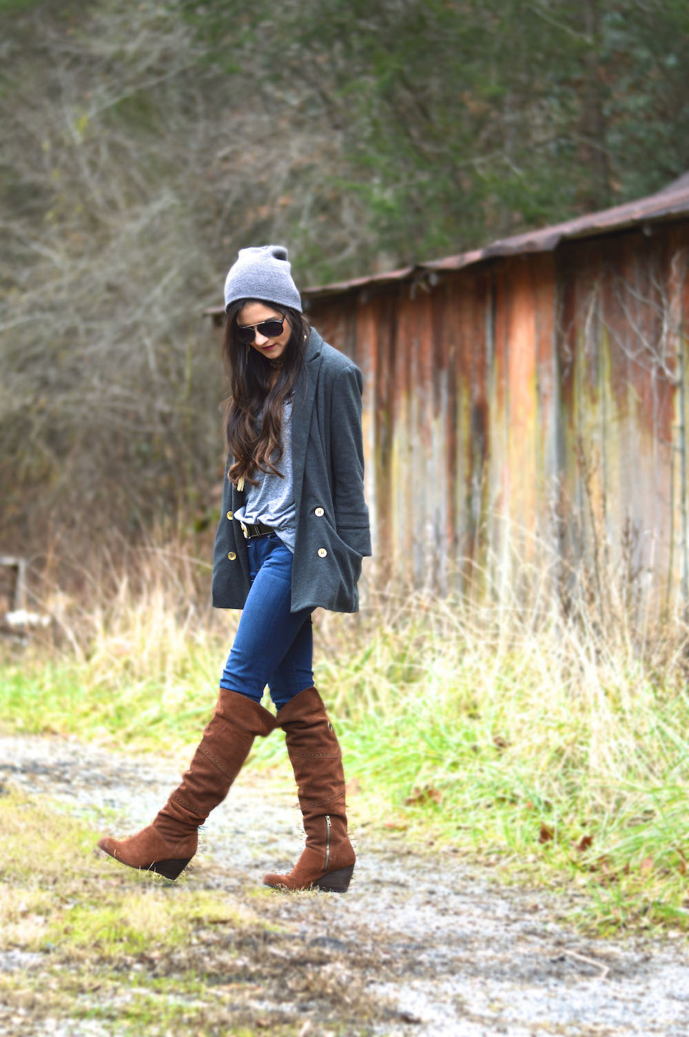 over the knee boots and blazer