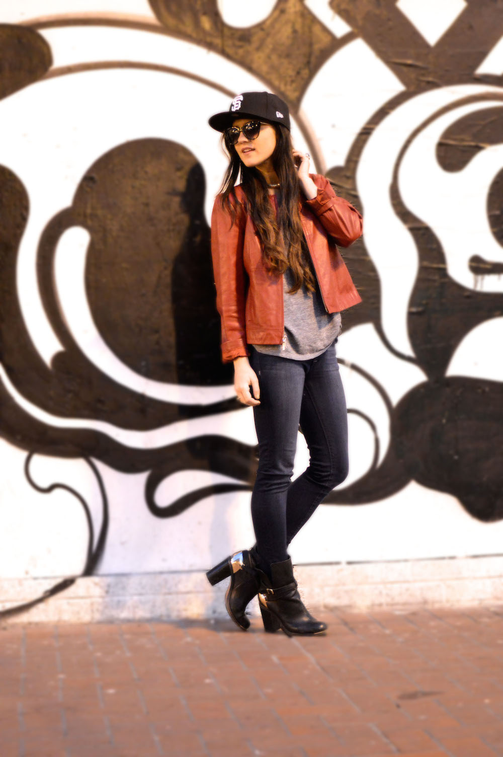 red leather jacket casual