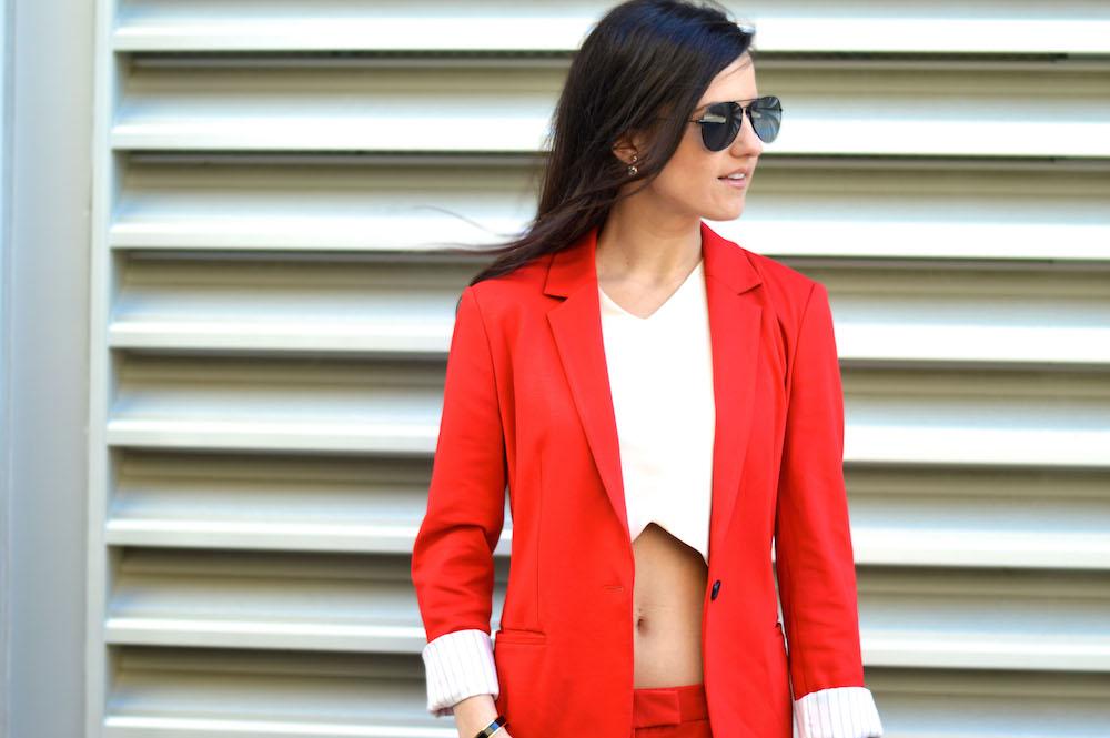 red crop top suit