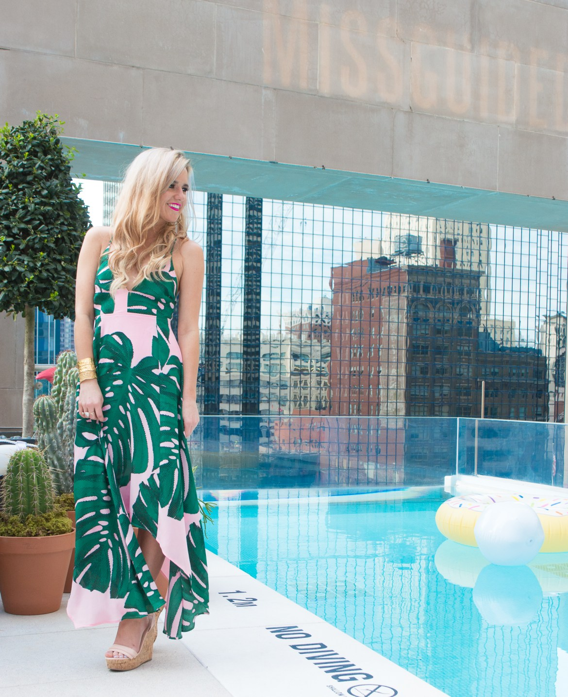 rsthecon: Missguided Rooftop Pool Party + Palm Print Dress • The ...