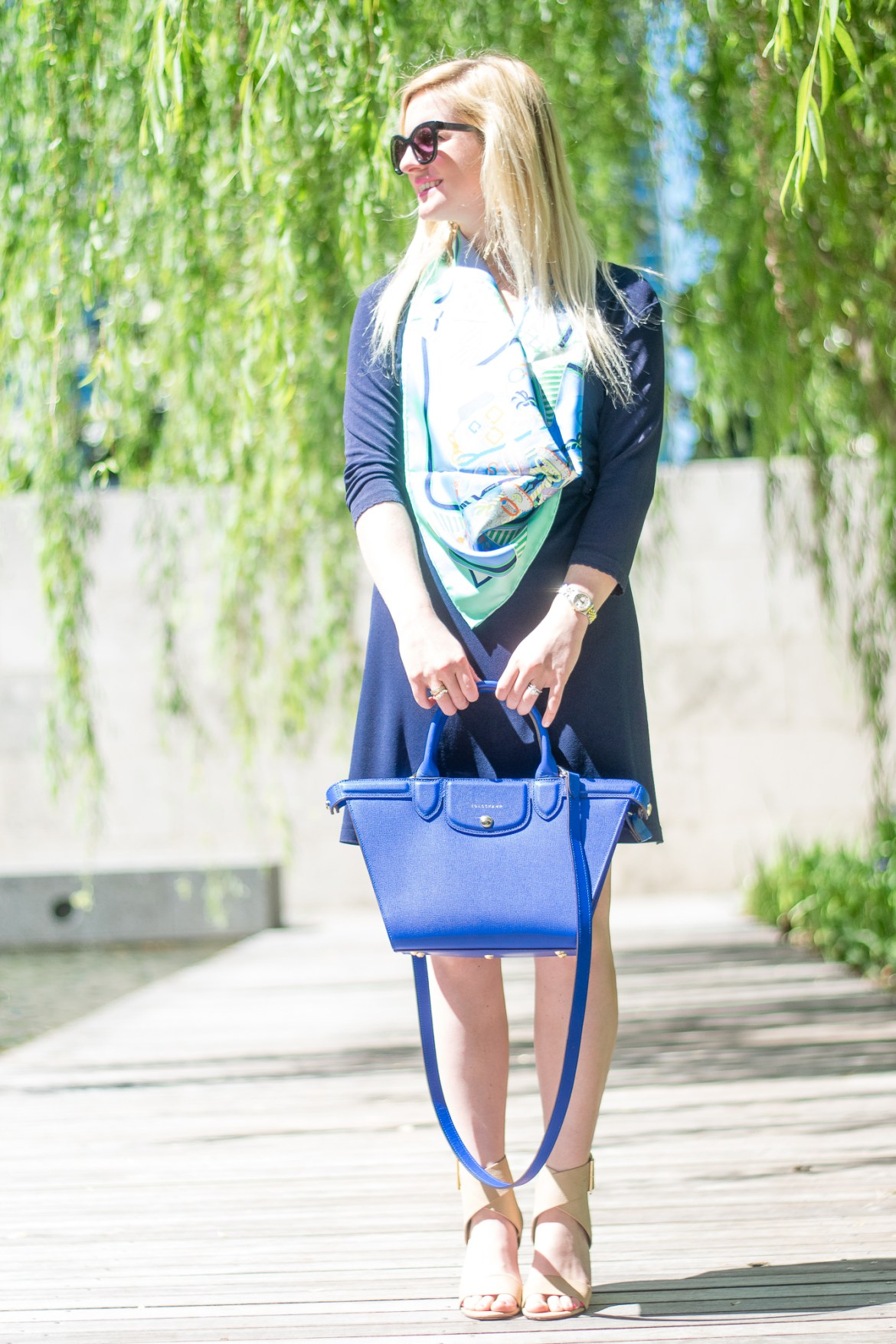 preppy outfit blue hermes