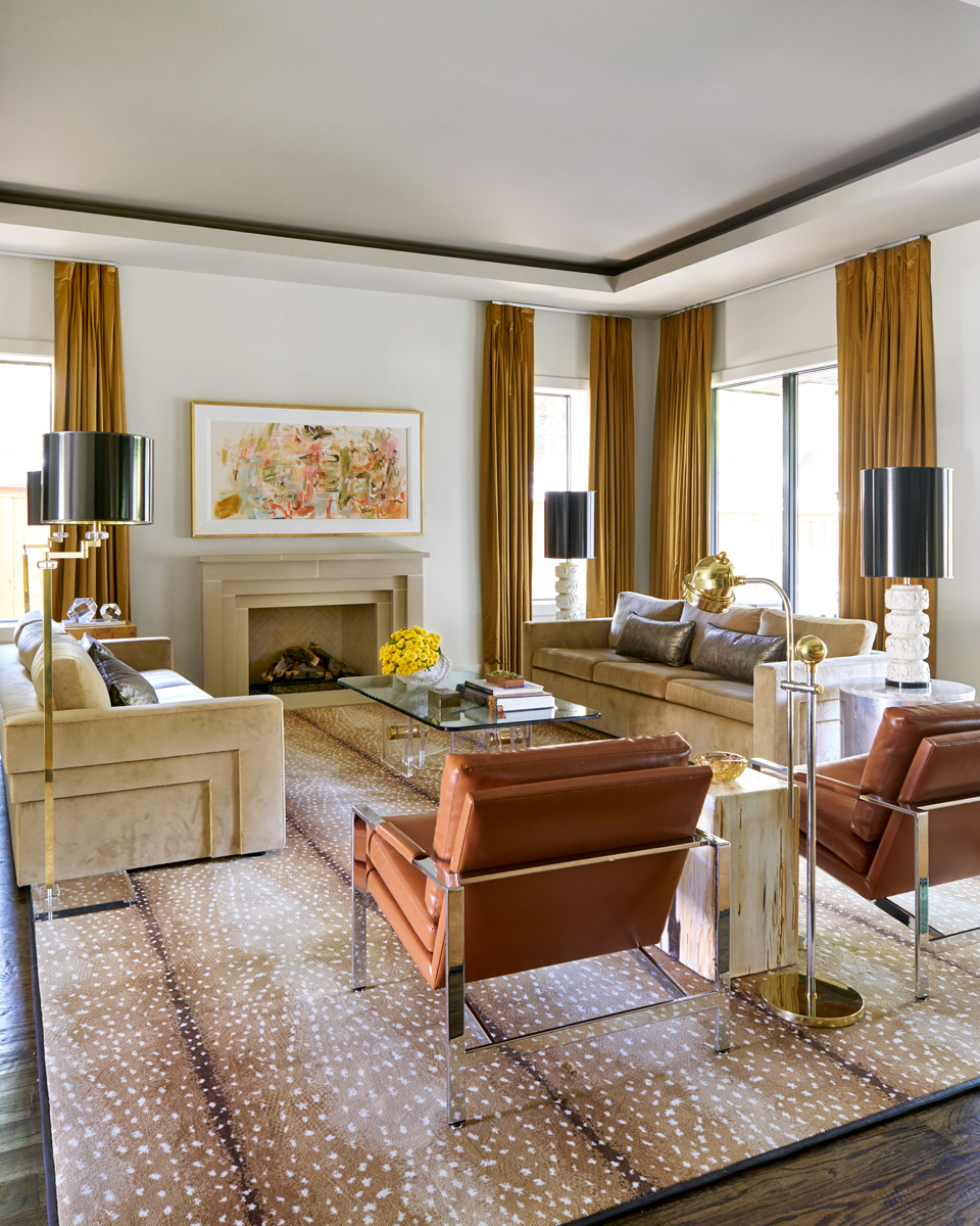 Modern Tan Living Room Antelope Rug