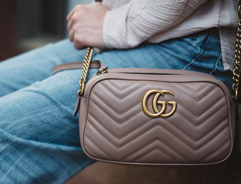 Gucci GG Marmont matelassé shoulder bag nude leather