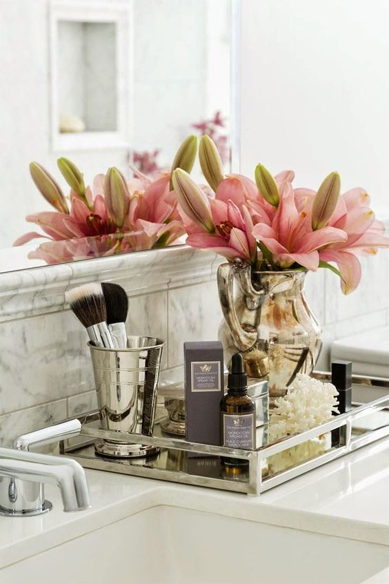 bathroom counter decor display