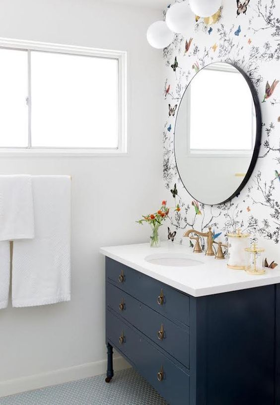 Via Butterfly Wallpaper Guest Bathroom