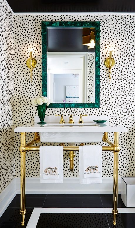 dalmatian wallpaper guest bathroom
