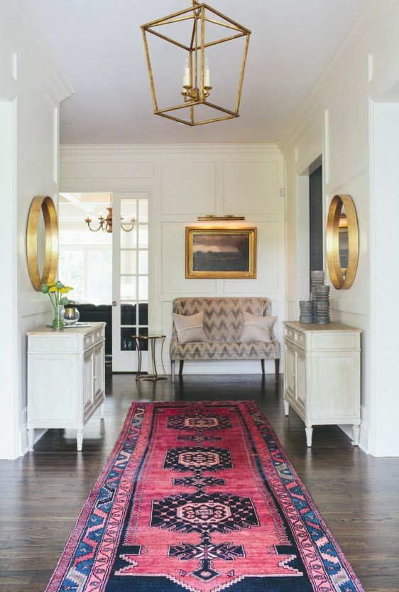 Entry Way Pink Oriental Rug Runner