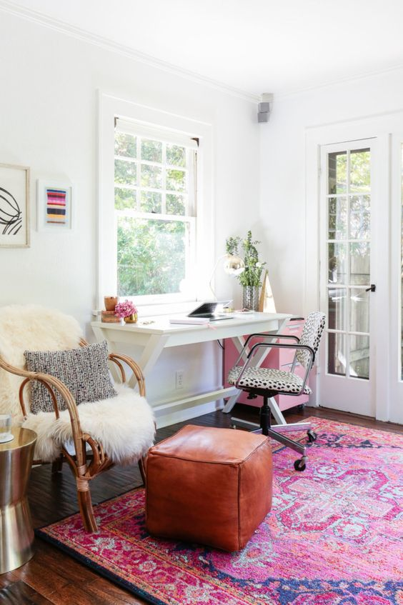 Feminine Blogger Office Pink Rug