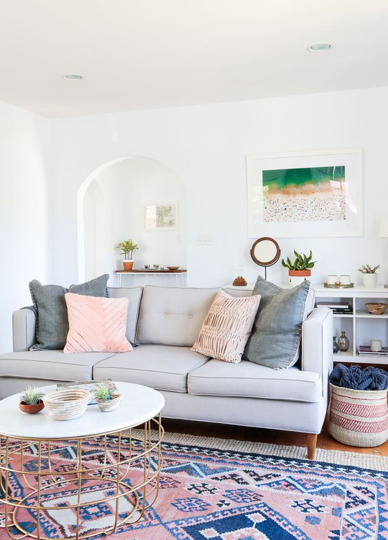 Gray Malin Living Room Pink Rug Gray Sofa