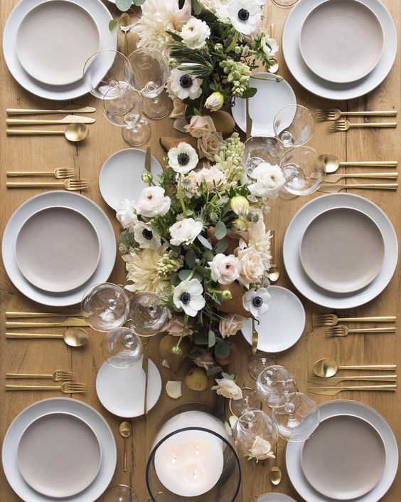 Gold flatware table setting