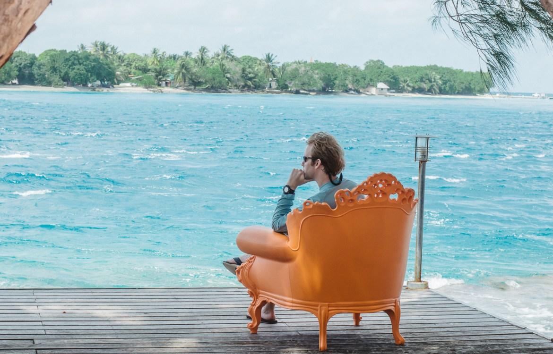 Hotel Kia Ora Rangiroa French Polynesia Orange Chair