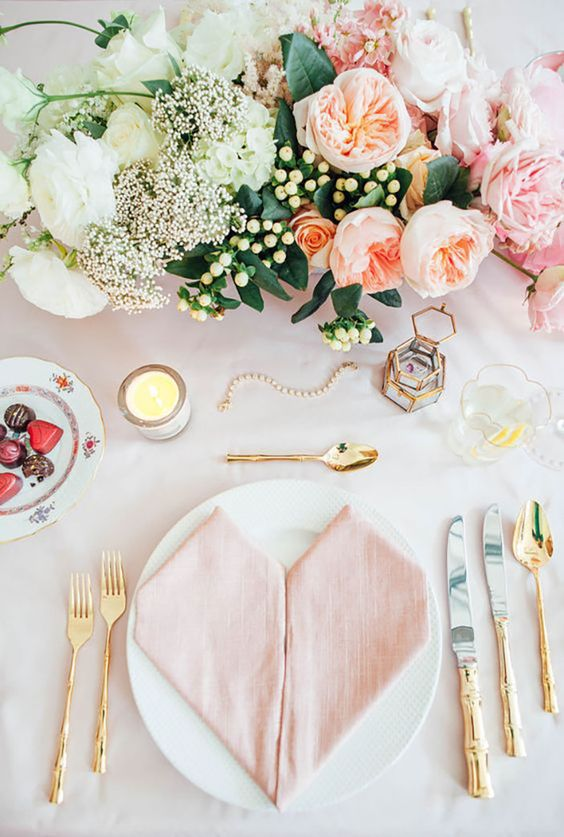 feminine gold flatware pink table setting