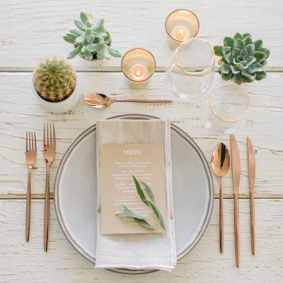 rose gold flatware modern table setting