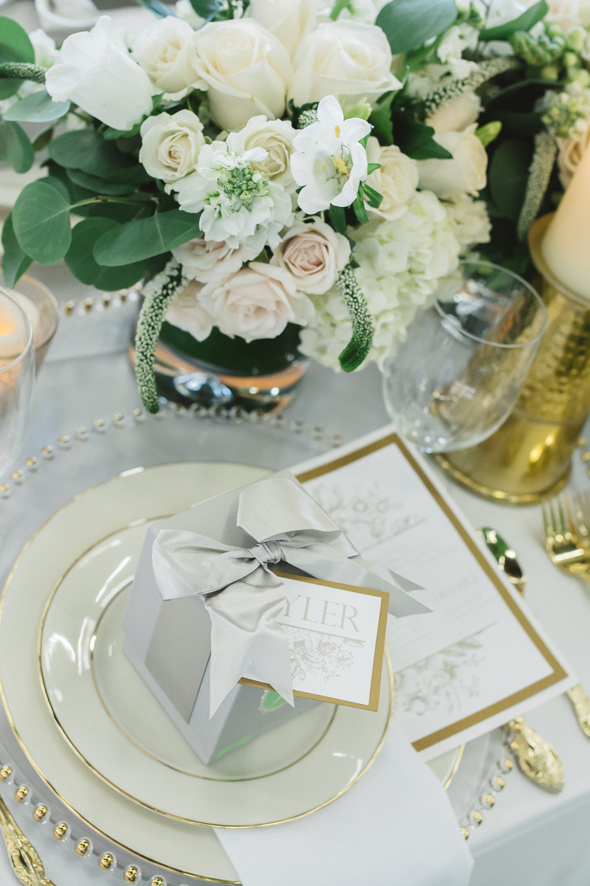 White floral table setting wedding
