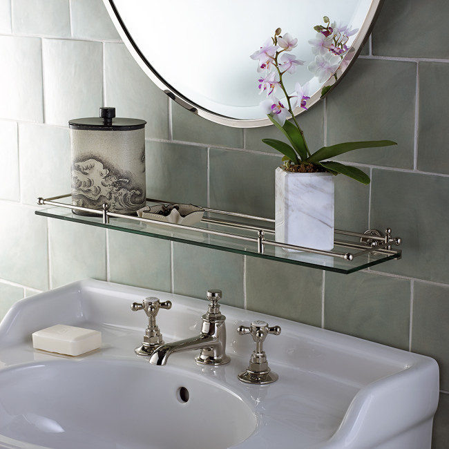 Shelves and pedestal sinks are great partners.