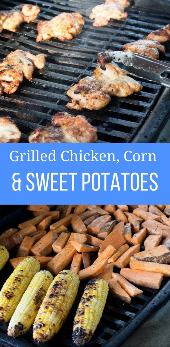 Grilled Chicken with Parmesan Corn and Sweet Potatoes